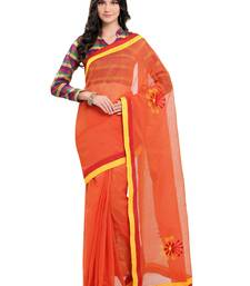 Buy Orange embroidered super net saree with blouse supernet-saree online