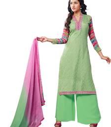 Buy Light-Green embroidered net semi-stitched salwar with dupatta party-wear-salwar-kameez online
