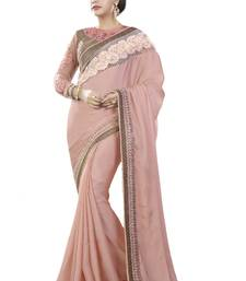 Buy Light brown embroidered silk blend saree with blouse south-indian-saree online