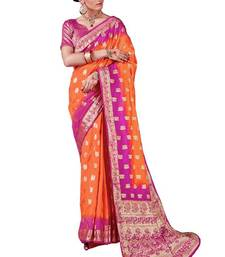 Buy Orange woven nylon saree with blouse hand-woven-saree online