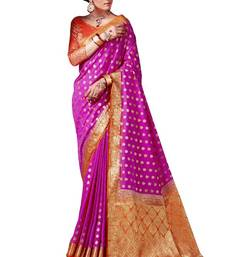 Buy Rani pink woven nylon saree with blouse hand-woven-saree online