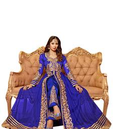 Buy BLUE & BEIGE EMBROIDERED NET SEMI-STITCHED ANARKALI SUIT semi-stitched-salwar-suit online