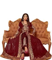 Buy MAROON & BEIGE EMBROIDERED NET SEMI-STITCHED ANARKALI SUIT semi-stitched-salwar-suit online