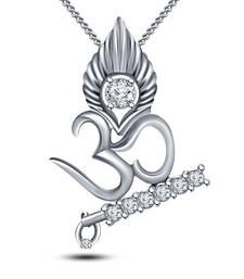 "Buy White Platinum Plated 925 Silver Cubic Zirconia Om Krishna Pendant With 18"" Chain cubic-zirconia-cz-pendant online"