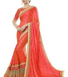 Buy Orange woven jacquard saree with blouse party-wear-saree online