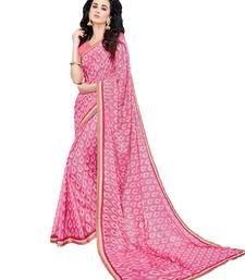 Buy Light pink printed brasso saree with blouse brasso-saree online