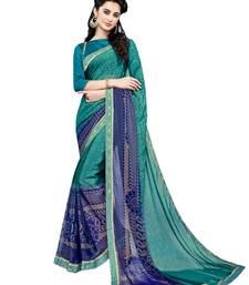 Buy Sea green printed brasso saree with blouse brasso-saree online