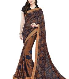 Buy Navy blue printed brasso saree with blouse brasso-saree online