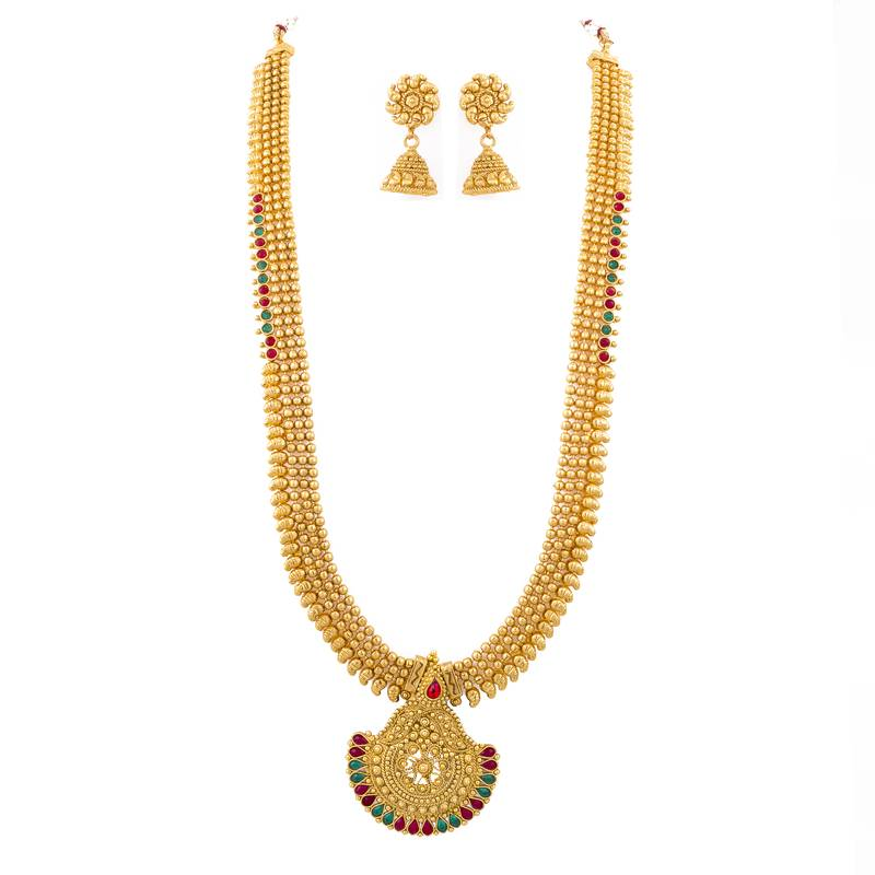 Buy ONE GRAM GOLD PLATED LONG NECKLACE SET WITH JHUMKA Online