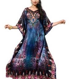 Buy Multi color digital printed high quality satin silk long designer kaftan islamic-kaftan online