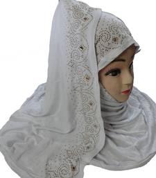 Buy White diamond stone work hoisery cotton women's headscarf hijab online