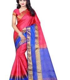 Buy Light baby pink woven nylon saree with blouse banarasi-saree online
