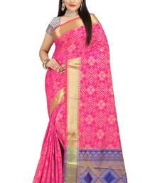 Buy pink woven patola saree with blouse patola-sari online