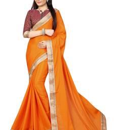 Buy orange plain silk saree with blouse art-silk-saree online