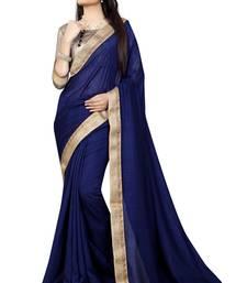 Buy Blue plain silk saree with blouse art-silk-saree online