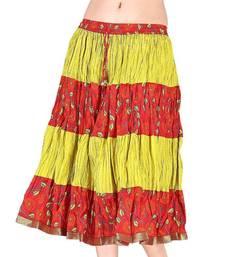Buy Ethnic Yellow and Orange Cotton Short Skirt skirt online