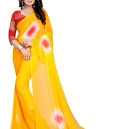 Buy Yellow printed chiffon saree with blouse below-1500 online