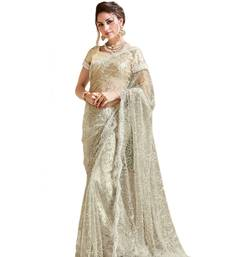 Buy Cream embroidered net saree with blouse wedding-saree online