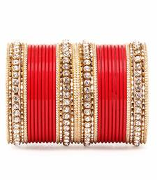 Buy Simple Matte textured stone Bangle Design by for Women Red bangles-and-bracelet online