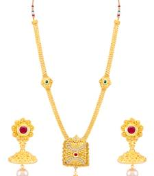 Buy Sukkhi Trendy Sqaure Shaped Gold Plated Necklace Set for women necklace-set online
