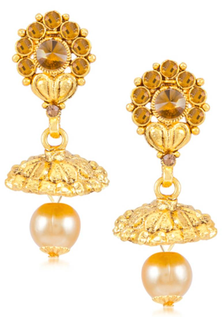 detail floral trendy earrings product nac gold