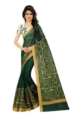 Green plain bhagalpuri silk saree with blouse