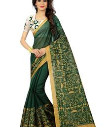 Buy Green plain bhagalpuri silk saree with blouse Woman online