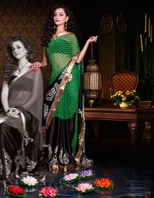 Cute Green Half satin half georgette sari