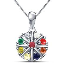 Buy 925 Sterling Silver Platinum Plated Navratna Pendant With Chain cubic-zirconia-cz-pendant online