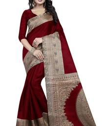 Buy Maroon printed silk saree with blouse art-silk-saree online