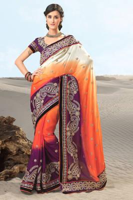 Embroidered Multi Colored Satin Sari