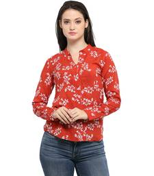 Buy Red cotton printed cotton party tops party-top online
