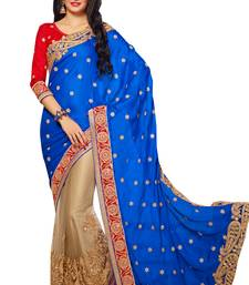 Buy Blue embroidered satin saree with blouse bridal-saree online