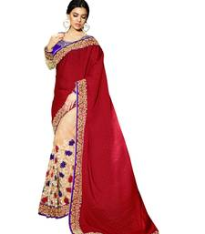 Buy Red embroidered silk saree with blouse contemporary-saree online