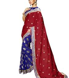 Buy Maroon embroidered viscose saree with blouse contemporary-saree online