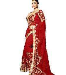 Buy Red embroidered chiffon saree with blouse contemporary-saree online