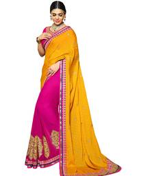 Buy Yellow embroidered chiffon saree with blouse contemporary-saree online