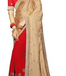 Buy Beige embroidered chiffon saree with blouse contemporary-saree online