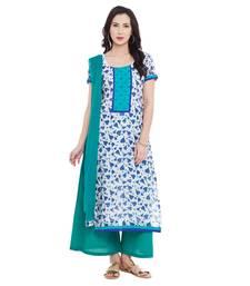 Buy Blue  printed chanderi salwar with dupatta dress-material online