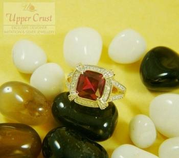 CZ Ruby Square Finger Ring  size-9