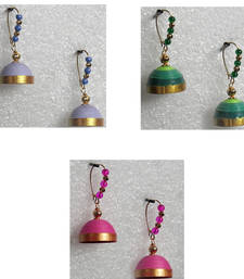Buy Green  pink and lavender Quilled jhumkas jhumka online
