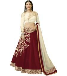 Buy Maroon embroidered silk unstitched lehenga with dupatta bridal-lehenga online