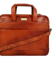 Buy Tan genuine leather formal designer laptop bags laptop-bag online
