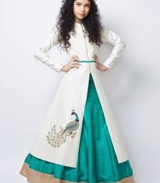 Buy White N Sea Green heavy Foam Work Embroidery Banglori Silk Ready Made Indo Western Lehenga For Girls kids-lehenga-choli online