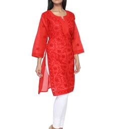 Buy Red embroidered cotton stitched kurti kurtas-and-kurtis online
