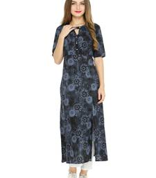 Buy Black printed cotton kurtas-and-kurtis kurtas-and-kurtis online