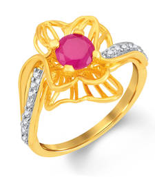 Buy Resplendent Gold and Rhodium Plated CZ and Ruby Studded Ring Ring online