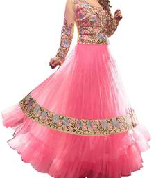 Buy Pink Embroidery Faux Georgette semi stiched salwar suit without dupatta semi-stitched-salwar-suit online