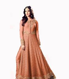 Buy Orange embroidered net salwar anarkali-salwar-kameez online