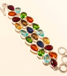 Buy Green peridot,african amethyst & multi gemstone 925 silver jewelry bracelet gemstone-bracelet online
